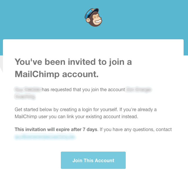 Invitation MailChimp compte