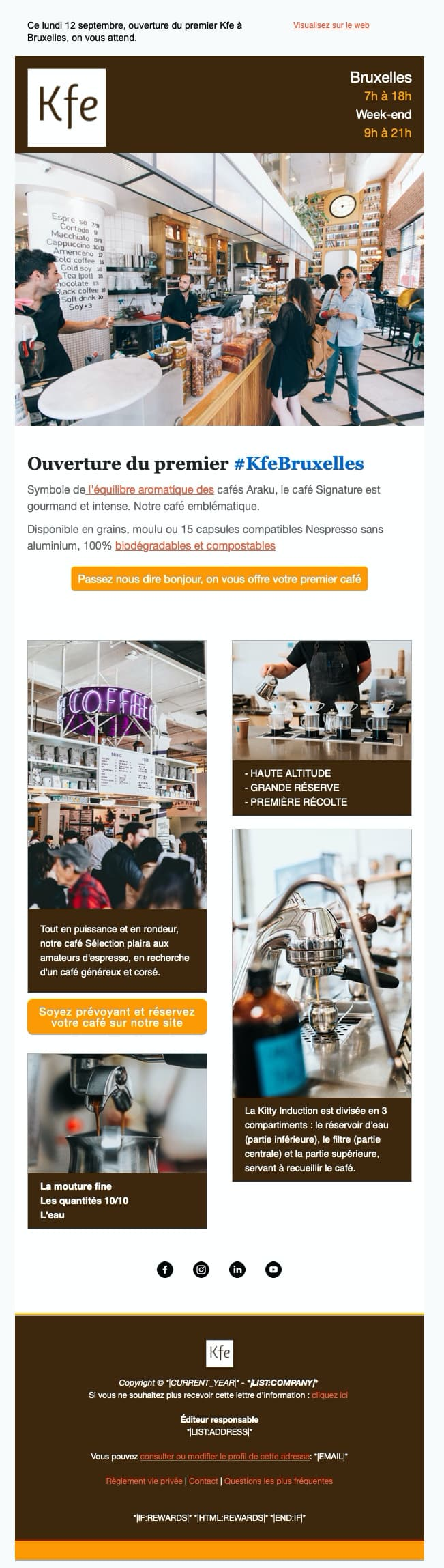 Café brasserie template mailchimp