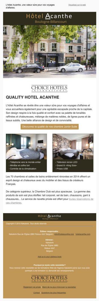 Newsletter Hôtel Paris avec Mailchimp