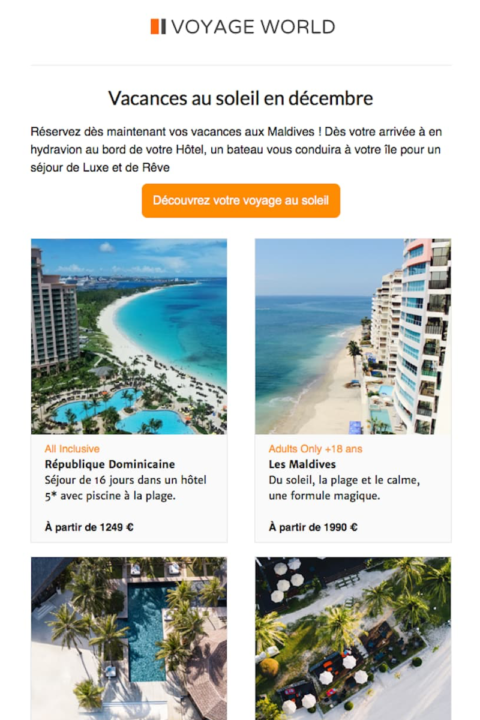 Thème Graphique pour newsletter d'agence de voyage