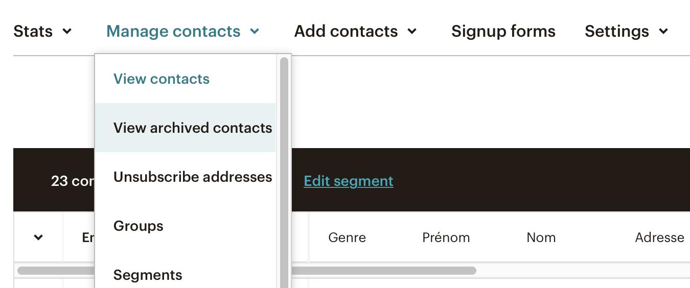Ne plus archiver une adresse dans Mailchimp