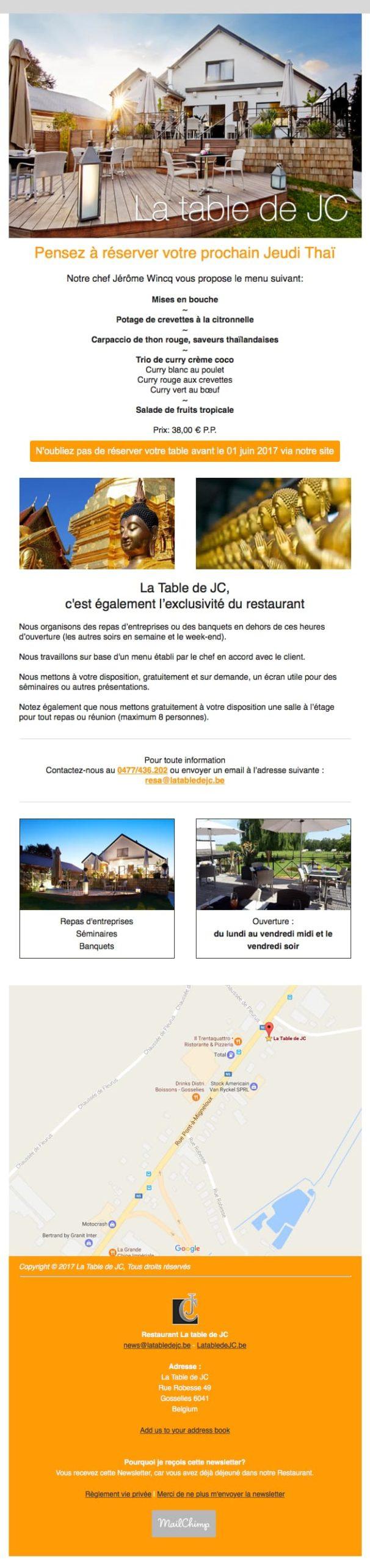 Newsletter restaurant 2 colonnes