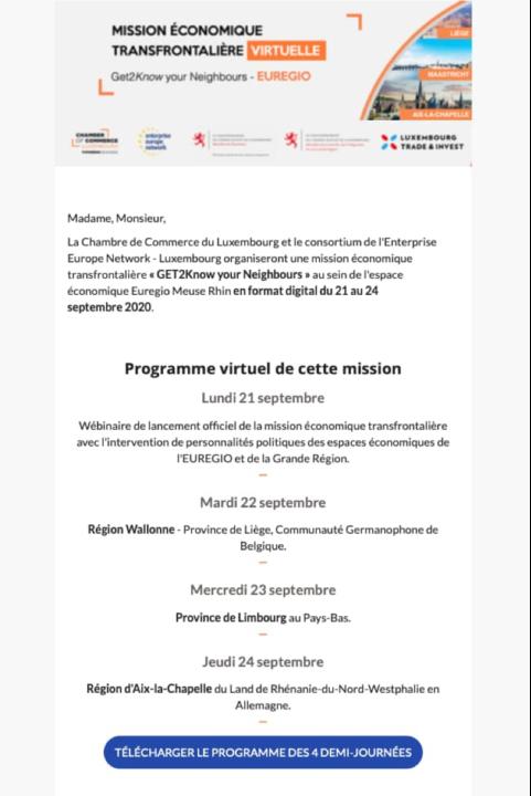 Refonte d'une newsletter pour un événement virtuel