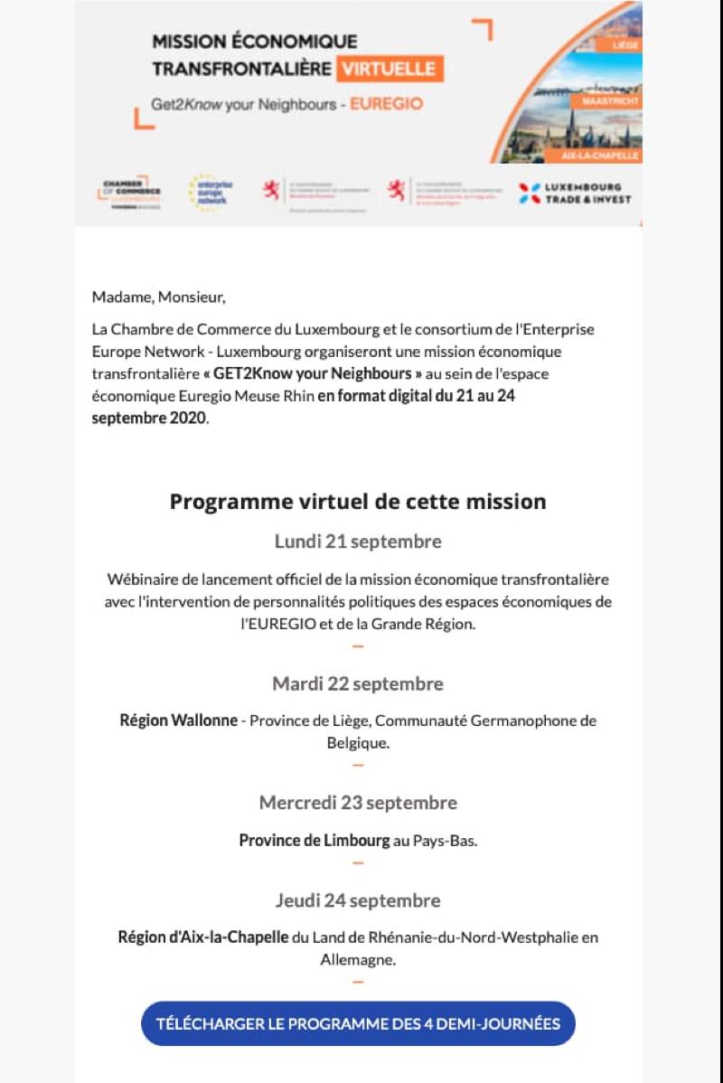 Newsletter template event avant après