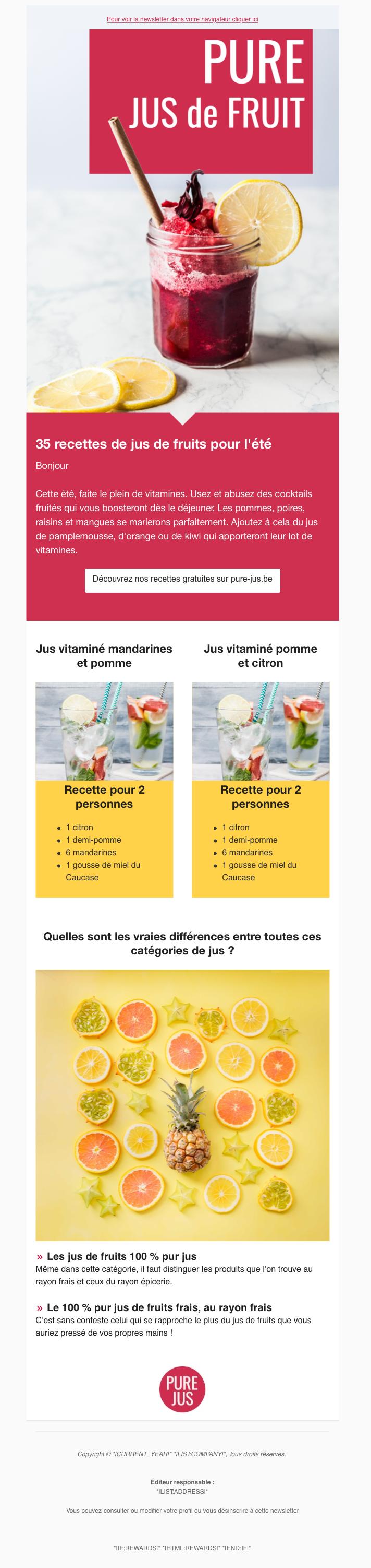 Newsletter recette de cuisine 2 colonnes