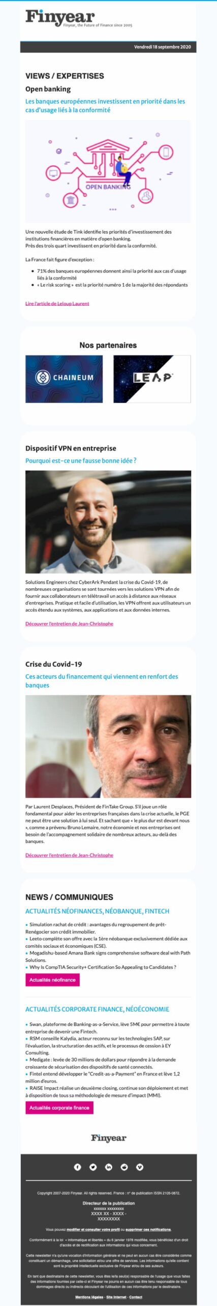 Newsletter editable Mailchimp 1 colonne