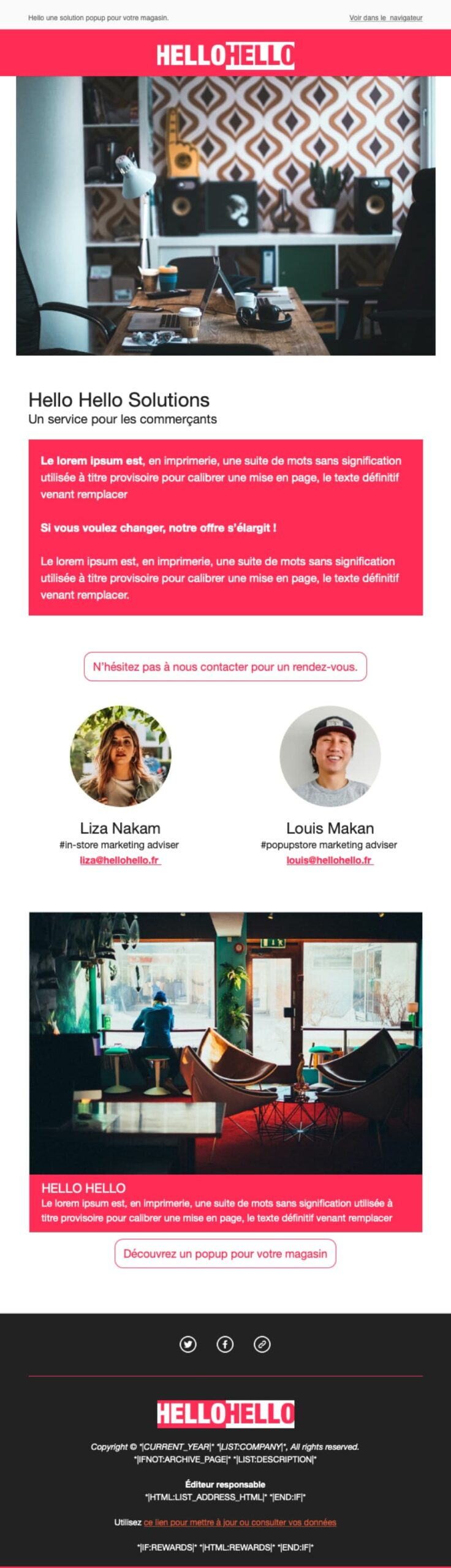 Newsletter 2 colonnes Template editable Mailchimp
