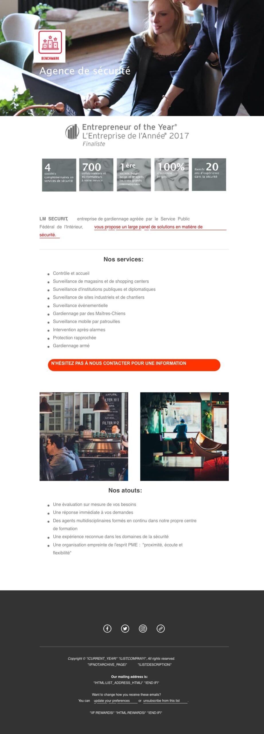 infolettre mailchimp éditable modèle 2 colonnes